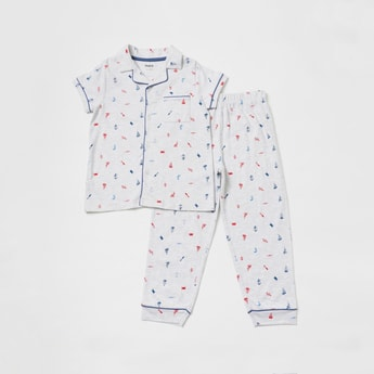 All Over Print Collared Shirt and Full-Length Pyjama Set