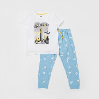 Graphic Print Short Sleeves T-shirt and Pyjama Set