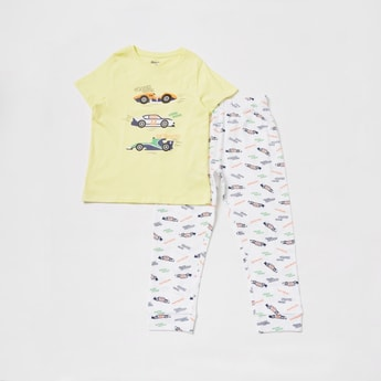 Car Graphic T-shirt and Pyjama Set