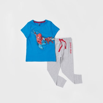 Spider-Man Print Short Sleeves T-shirt and Full-length Pyjama Set
