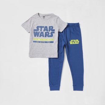 Star Wars Print Round Neck T-shirt and Pyjama Set