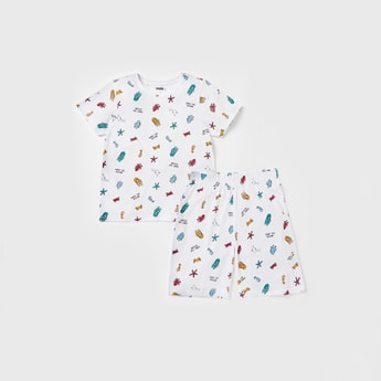 Printed Round T-shirt and Shorts Set