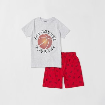 Football Graphic Print T-shirt with Shorts