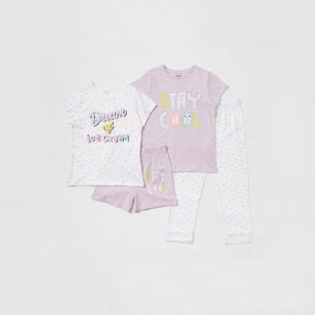 Graphic Print 4-Piece Sleepwear Set