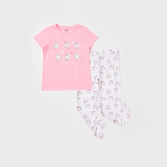 Graphic Print Short Sleeves T-shirt and All-Over Print Pyjama Set