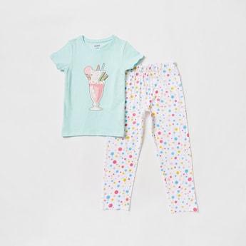 Milkshake Print T-shirt and Full Length Pyjama Set
