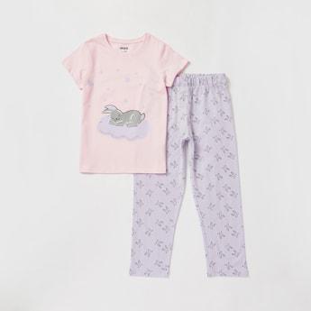Bunny Print Round Neck T-shirt and Full Length Pyjama Set
