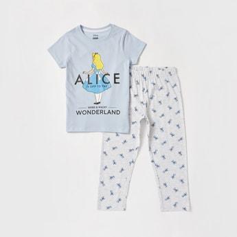 Alice in Wonderland Print Round Neck T-shirt and Pyjama Set