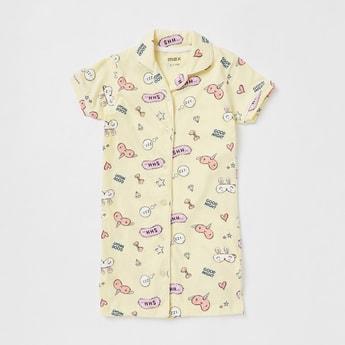 Printed Collared Sleepshirt with Short Sleeves