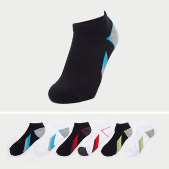 Set of 6 - Textured Ankle-Length Socks with Cuffed Hem