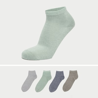 Set of 4 - Textured Ankle-Length Socks with Cuffed Hem