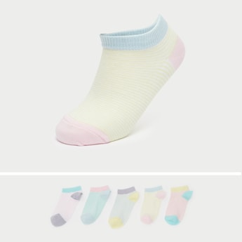 Pack of 5 - Striped Ankle Length Socks with Cuffed Hem