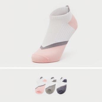 Set of 3 - Colourblock Ankle Length Socks with Cuffed Hem