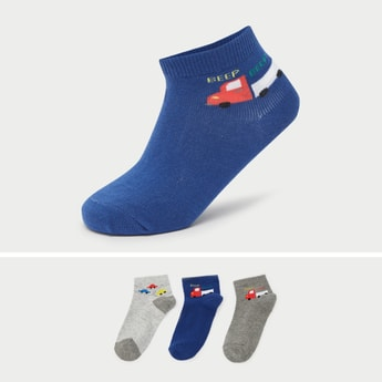 Pack of 3 - Vehicle Embroidered Ankle Length Socks