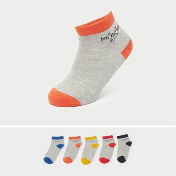 Pack of 5 - Printed Ankle Length Socks with Cuffed Hem
