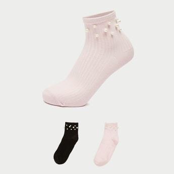 Pack of 2 - Embellished Ankle Length Socks with Elasticised Hem