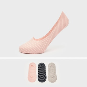Pack of 3 - Striped No Show Socks with Elasticised Hem