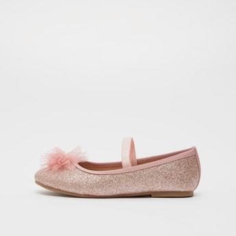 حذاء باليرينا مزين بزخارف شبكية وشريطة مطّاطيّة