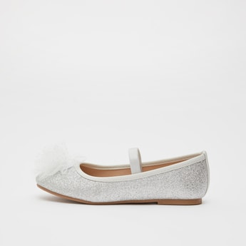 Embellished Ballerinas with Mesh Applique and Elasticised Band
