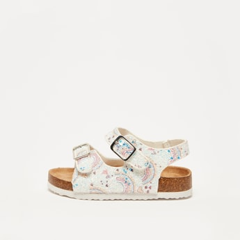 Rainbow Print Open-Toe Sandals with Hook and Loop Closure
