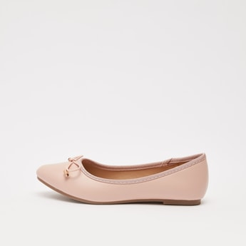 Solid Pointed Toe Ballerinas with Bow Applique