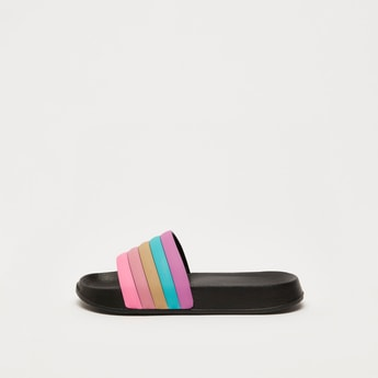 Panelled Open-Toe Slip-On Beach Slippers