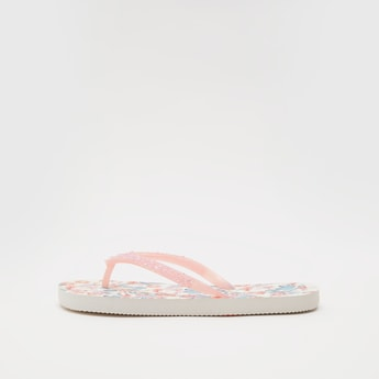 Printed Flip Flops with Embellished Straps