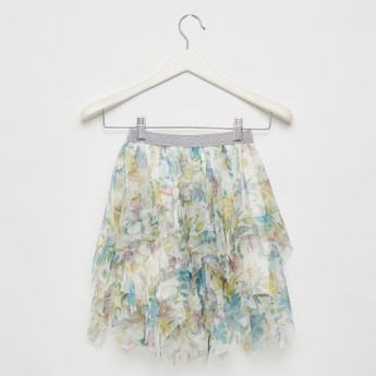 All-Over Floral Print Mesh Skirt with Handkerchief Hem