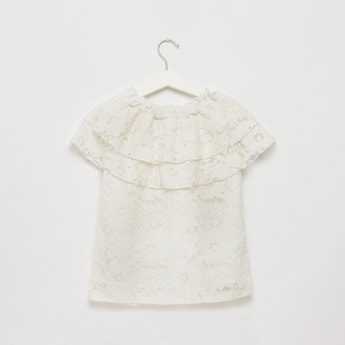 Lace Top with Frill and Embellished Detail