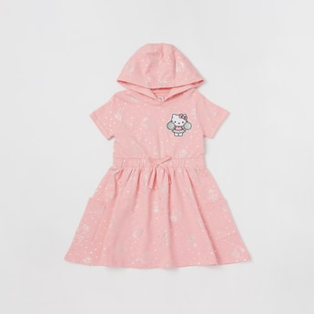 Hello Kitty Print Dress with Hood and Short Sleeves