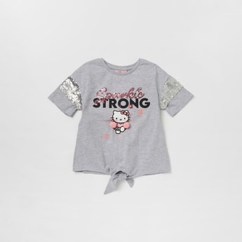 Hello Kitty Sequin Detail T-shirt with Short Sleeves and Front Knot Detail