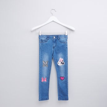 Minnie Mouse Embroidered Full Length Jeans with Pocket Detail