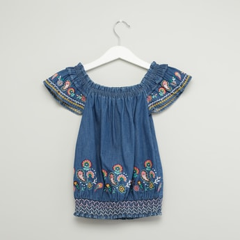 Embroidered Top with Boat Neck and Cap Sleeves