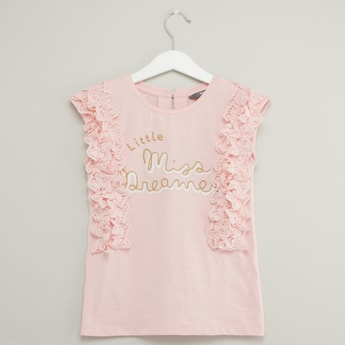 Embroidered Sleeveless Top with Round Neck and Ruffle Detail