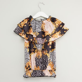 Printed Top with Ruffled Collar and Elasticised Hem