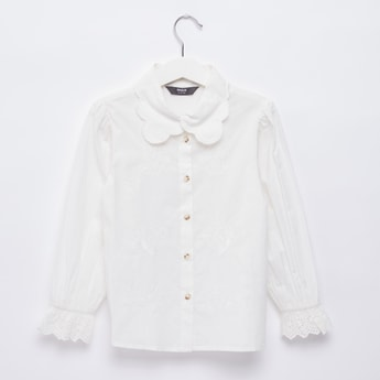 Broderie Embroidered Shirt with Long Sleeves and Collar