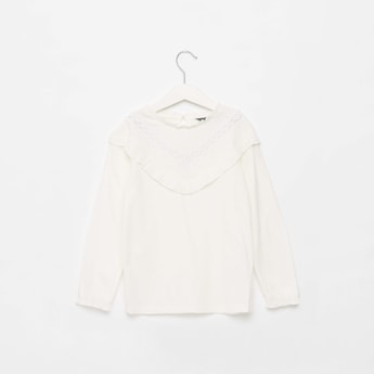Solid Top with Long Sleeves and Frill Detail