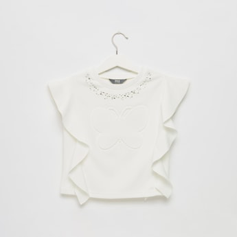 Butterfly Embossed Print Top with Embellished and Frill Detail