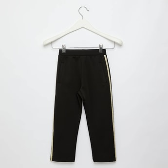 Textured Trousers with Side Tape Detail and Elasticised Waistband