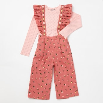 Polka Dotted Long Sleeves Top and Floral Print Frill Braces Culottes Set