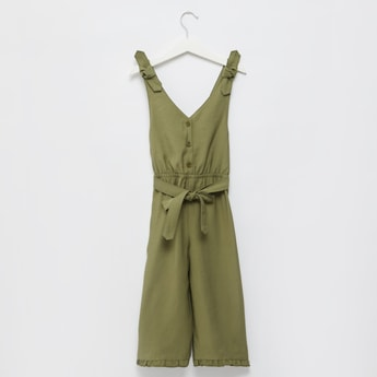 Solid Sleeveless Jumpsuit with Frilled Hem and Tie-Up Belt