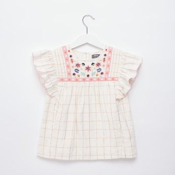 Checked Embroidered Top with Round Neck and Cap Sleeves