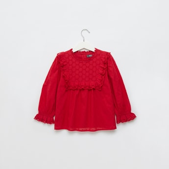Swiss Dot Embroidered Round Neck Top with Lace Insert and Long Sleeves