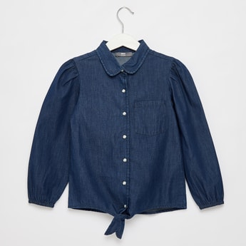 Solid Long Sleeves Denim Shirt with Knot Detail and Button Closure