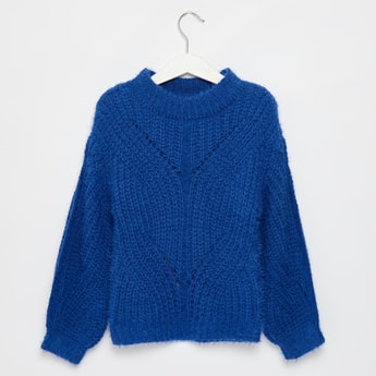 Textured Round Neck Pullover with Long Sleeves
