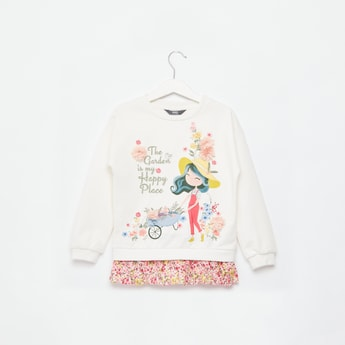 Graphic Print Sweat Top with Embroidery and Long Sleeves