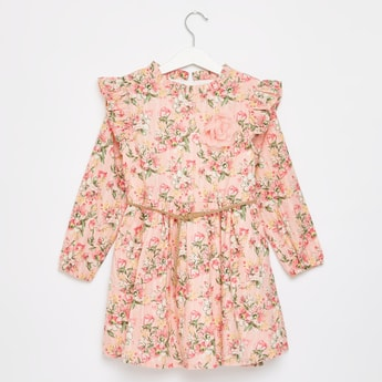 Floral Print Dress with Ruffle Detail and Belt