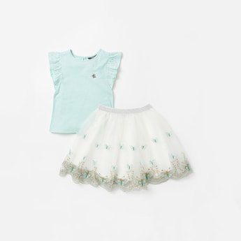 Butterfly Applique Detail Round Neck T-shirt and Skirt Set