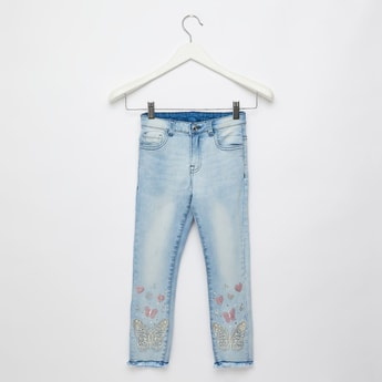 Full Length Embellished Jeans with Pockets and Belt Loops
