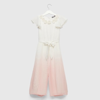 Dip Dye Pleated Jumpsuit with Cap Sleeves